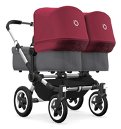 Коляска для двойни BUGABOO DONKEY2 TWIN COMPLETE ALU - GREY MELANGE - RUBY RED 2 В 1