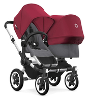 Коляска для погодок BUGABOO DONKEY2 DUO ALU - GREY MELANGE - RUBY RED
