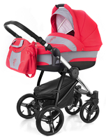 Коляска ESSPERO NEWBORN LUX RED GREY 2 В 1 на шасси CHROME