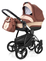 Коляска ESSPERO NEWBORN LUX BROWN BEIGE 2 В 1 на шасси CHROME