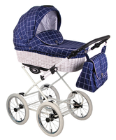 Коляска LONEX CLASSIK RETRO R-WHITE DARK BLUE CHECKERED 2 В 1