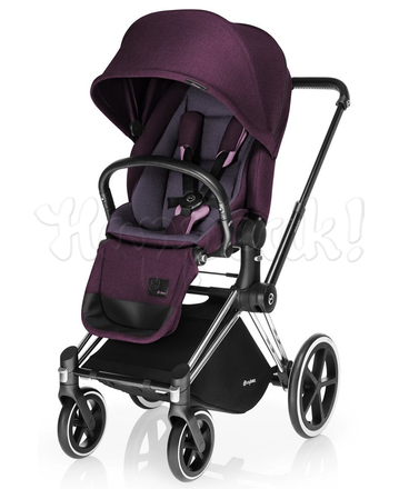 Коляска CYBEX PRIAM LUX GRAPE JUICE 3 В 1 на раме ALL TERRAIN MATT BLACK+CLOUD Q PLUS