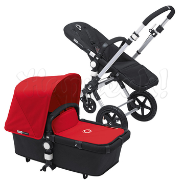 Коляска BUGABOO CAMELEON 3 BLACK RED 2 В 1 на шасси SILVER