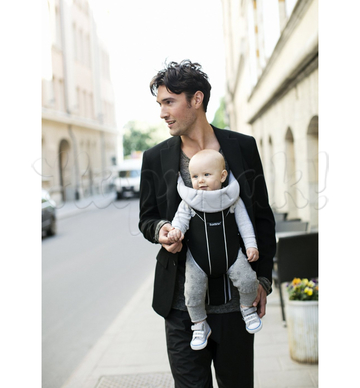 Рюкзак-кенгуру BABYBJORN MIRACLE COTTON MIX BLACK SILVER