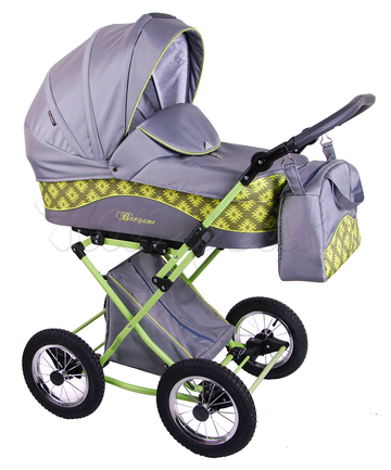 Коляска LONEX BERGAMO GREY - LIGHT GREEN 2 В 1