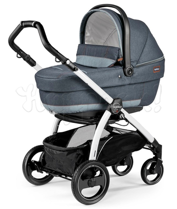 Коляска PEG-PEREGO BOOK PLUS S COMPLETO MODULAR BLUE DENIM  3 В 1 на шасси WHITE