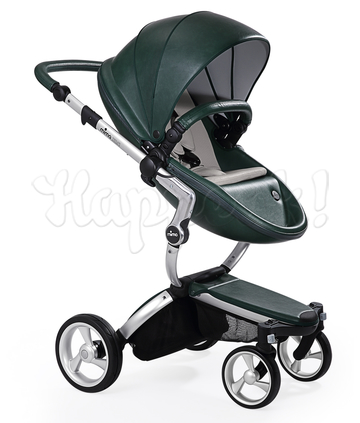 Коляска MIMA XARI FLAIR 2G BRITISH GREEN - RETRO BLUE 2 В 1 на шасси SILVER