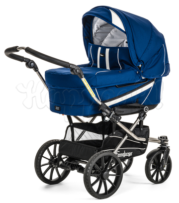 Коляска EMMALJUNGA EDGE DUO COMBI 12620 BLUE-WHITE 2016  2 В 1 на шасси DE LUXE CHROME