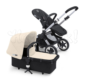 Коляска BUGABOO BUFFALO BLACK OFF WHITE 2 В 1 на шасси SILVER