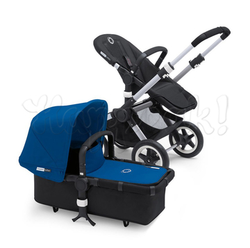 Коляска BUGABOO BUFFALO BLACK ROYAL BLUE 2 В 1 на шасси SILVER