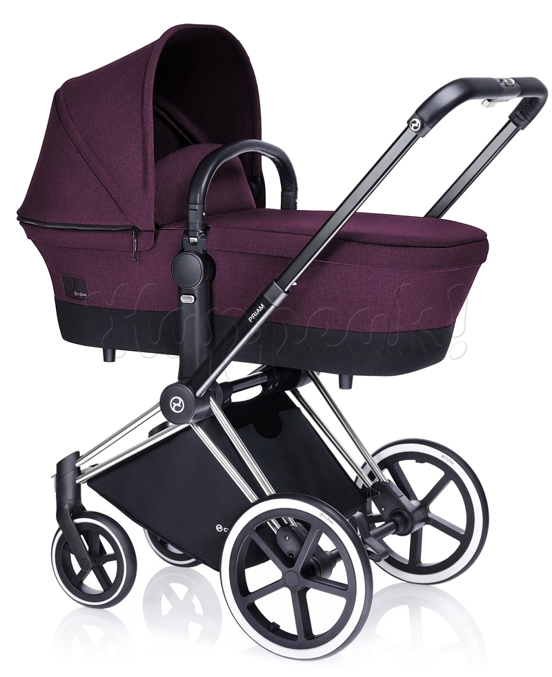 Коляска CYBEX PRIAM LUX GRAPE JUICE 3 В 1 на раме TREKKING MATT BLACK + CLOUD Q PLUS