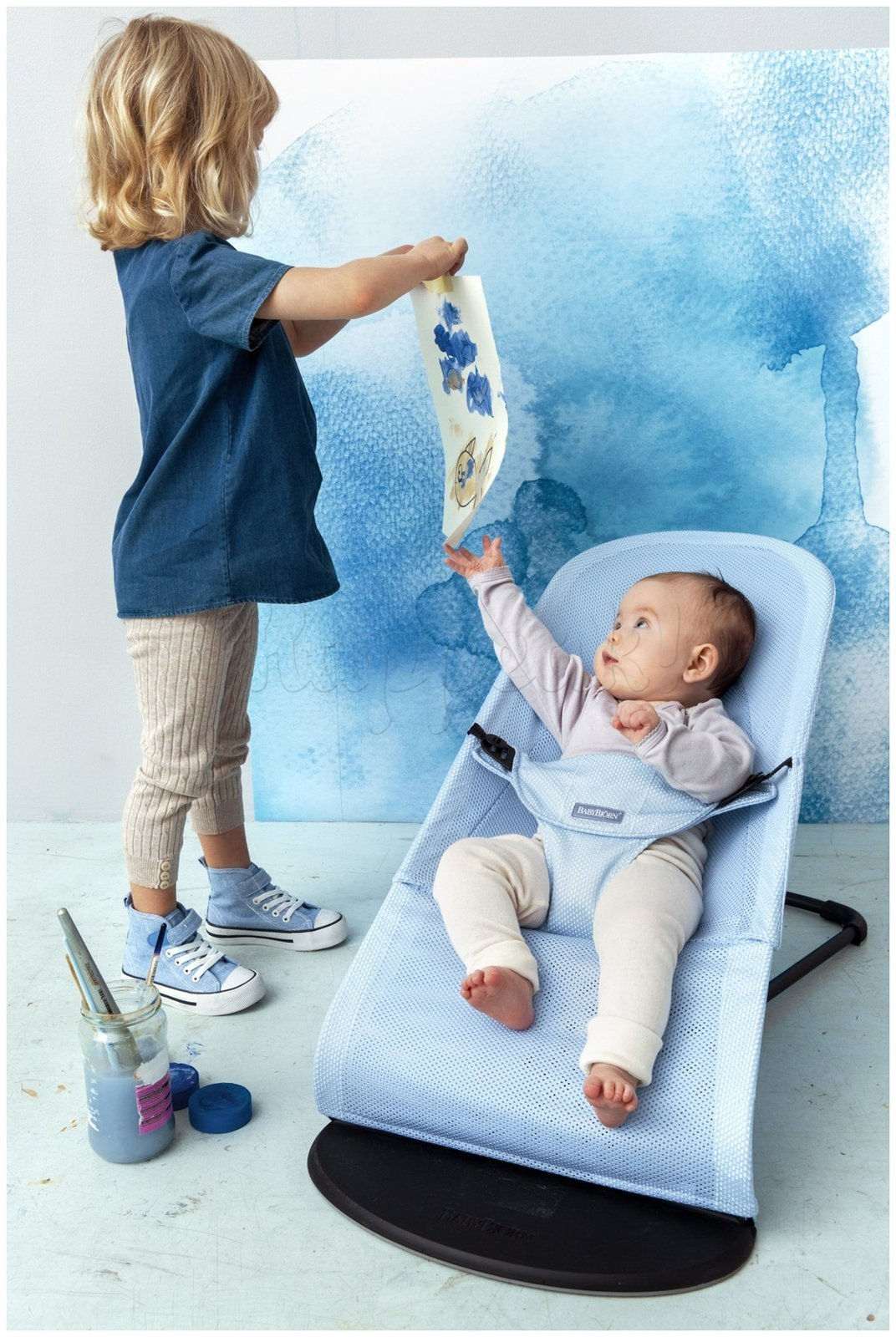 Кресло-шезлонг BABYBJORN BALANCE SOFT AIR ICE BLUE