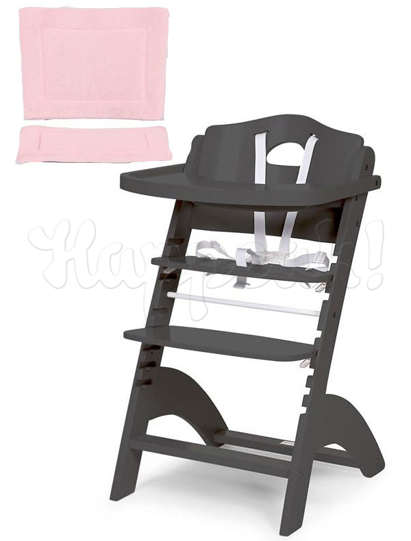 Стул для кормления CHILDHOME LAMBDA 2 ANTHRACITE - PASTEL OLD PINK