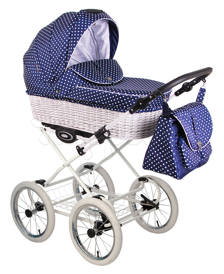 Коляска LONEX CLASSIK RETRO R-WHITE DARK BLUE POLKA DOTS 2 В 1