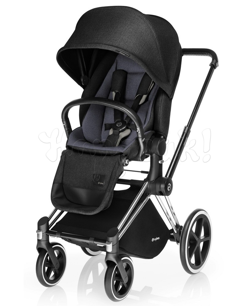 Коляска CYBEX PRIAM LUX BLACK BEAUTY 3 В 1 на раме TREKKING MATT BLACK + ATON Q PLUS